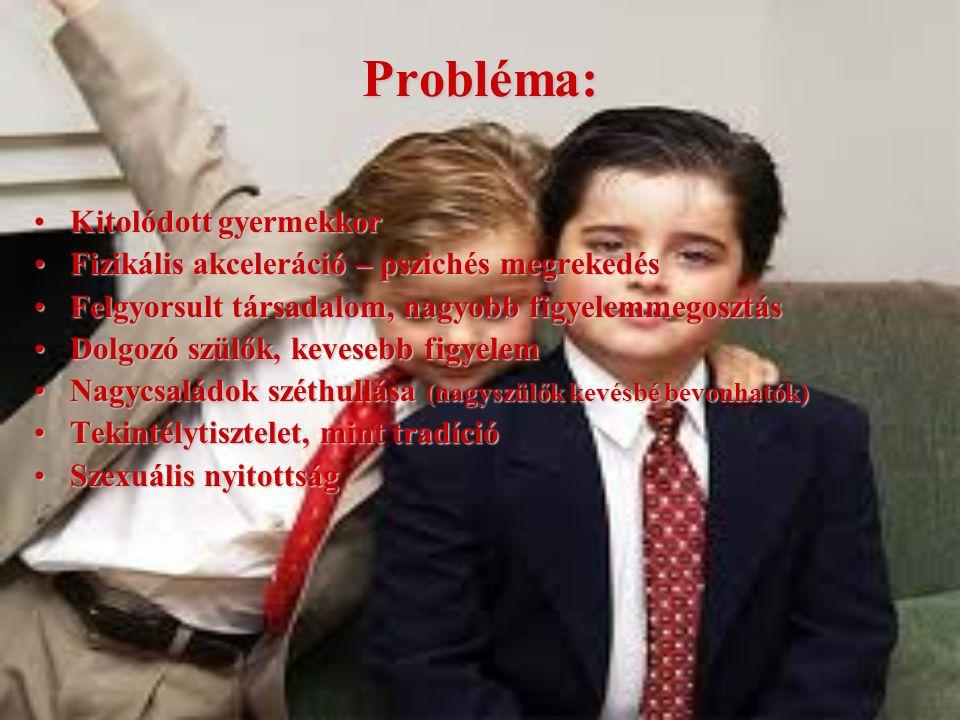 Probléma: Kitolódott gyermekkorKitolódott gyermekkor Fizikális akceleráció – pszichés megrekedésFizikális akceleráció – pszichés megrekedés Felgyorsul