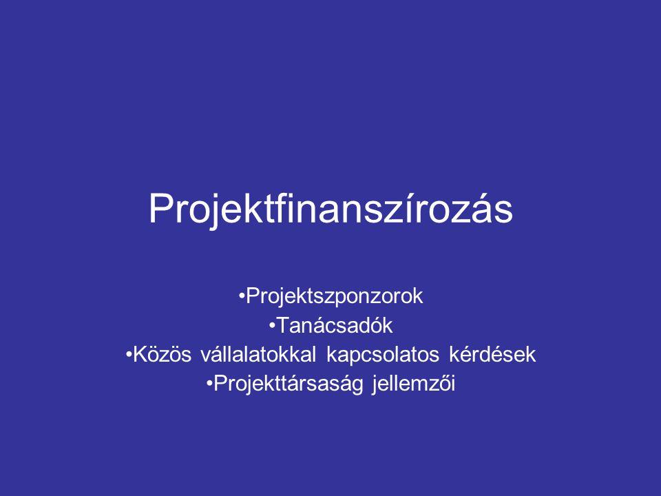 Projektfinanszírozás Projektszponzorok Tanácsadók Közös vállalatokkal kapcsolatos kérdések Projekttársaság jellemzői