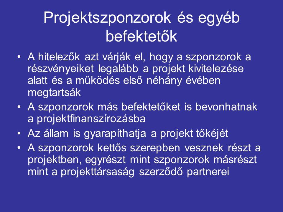 A projekt kialakítása Első lépés a megvalósíthatósági tanulmány készítése Egy projekt kialakításakor feláll egy projektfejlesztő csapat (tervezés és építés, üzemeltetés, jogi szabályozás, számvitel és adózás, pénzügyi modellezés, finanszírozási struktúra kialakítása) Finanszírozási struktúra kialakítása költségei magasak (2,5-5%) Lényeges, hogy a csapaton belül összehangolják a különböző feladatokat