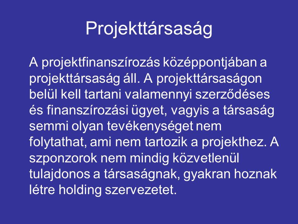 Projekttársaság A projektfinanszírozás középpontjában a projekttársaság áll. A projekttársaságon belül kell tartani valamennyi szerződéses és finanszí