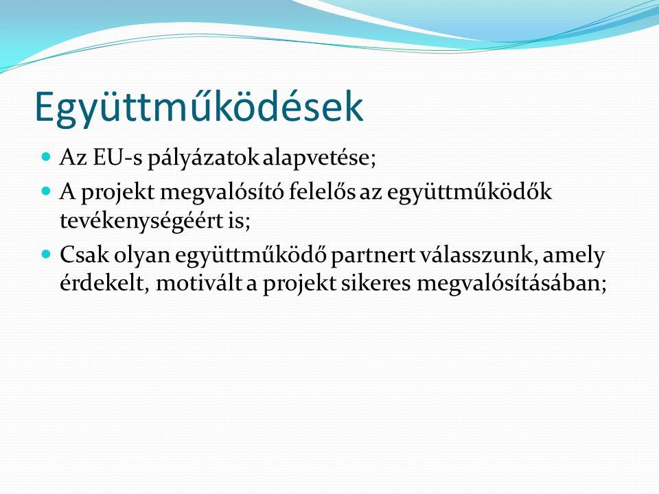 Együttműködések Az EU-s pályázatok alapvetése; A projekt megvalósító felelős az együttműködők tevékenységéért is; Csak olyan együttműködő partnert válasszunk, amely érdekelt, motivált a projekt sikeres megvalósításában;