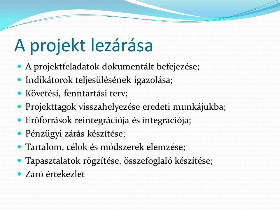 A projekt lezárása A projektfeladatok dokumentált befejezése; Indikátorok teljesülésének igazolása; Követési, fenntartási terv; Projekttagok visszahelyezése eredeti munkájukba; Erőforrások reintegrációja és integrációja; Pénzügyi zárás készítése; Tartalom, célok és módszerek elemzése; Tapasztalatok rögzítése, összefoglaló készítése; Záró értekezlet