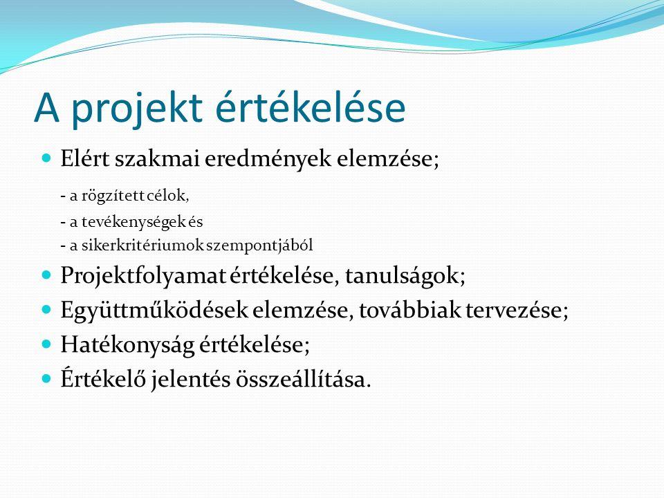 A projekt értékelése Elért szakmai eredmények elemzése; - a rögzített célok, - a tevékenységek és - a sikerkritériumok szempontjából Projektfolyamat értékelése, tanulságok; Együttműködések elemzése, továbbiak tervezése; Hatékonyság értékelése; Értékelő jelentés összeállítása.