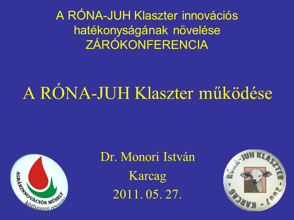 A RÓNA-JUH Klaszter innovációs hatékonyságának növelése ZÁRÓKONFERENCIA A RÓNA-JUH Klaszter működése Dr.