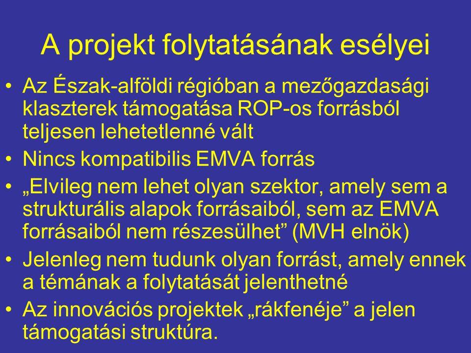 """A projekt folytatásának esélyei Az Észak-alföldi régióban a mezőgazdasági klaszterek támogatása ROP-os forrásból teljesen lehetetlenné vált Nincs kompatibilis EMVA forrás """"Elvileg nem lehet olyan szektor, amely sem a strukturális alapok forrásaiból, sem az EMVA forrásaiból nem részesülhet (MVH elnök) Jelenleg nem tudunk olyan forrást, amely ennek a témának a folytatását jelenthetné Az innovációs projektek """"rákfenéje a jelen támogatási struktúra."""