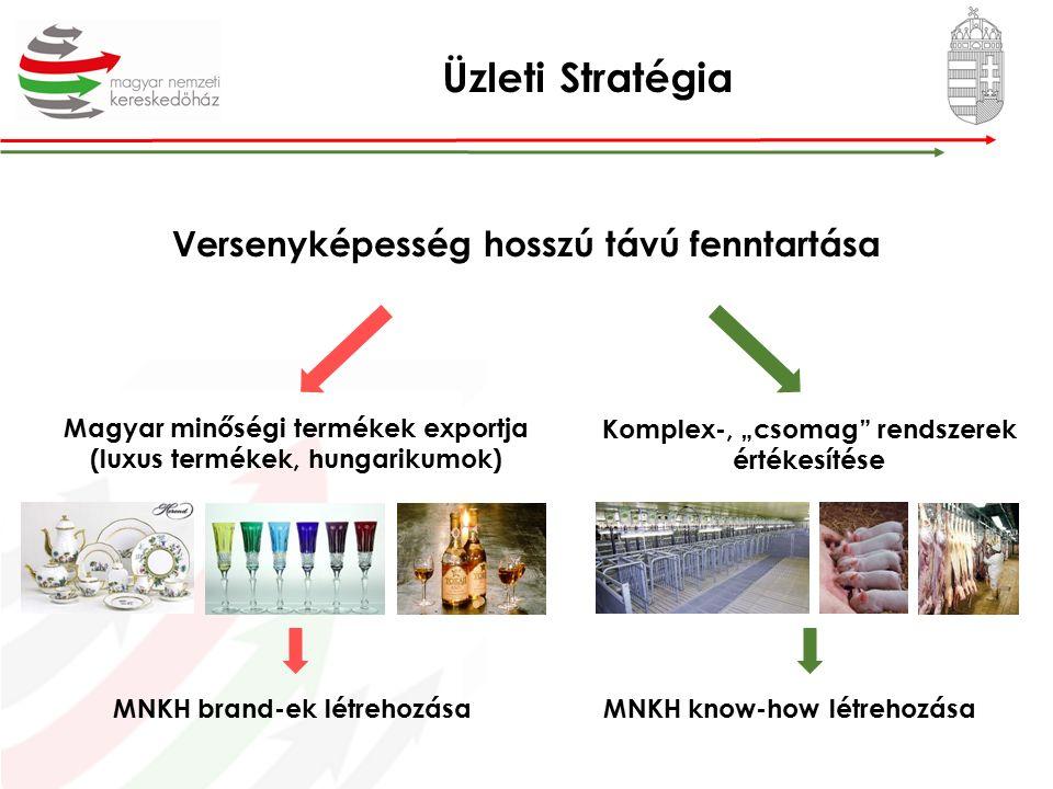 """Üzleti Stratégia Versenyképesség hosszú távú fenntartása Magyar minőségi termékek exportja (luxus termékek, hungarikumok) Komplex-, """"csomag rendszerek értékesítése MNKH brand-ek létrehozásaMNKH know-how létrehozása"""