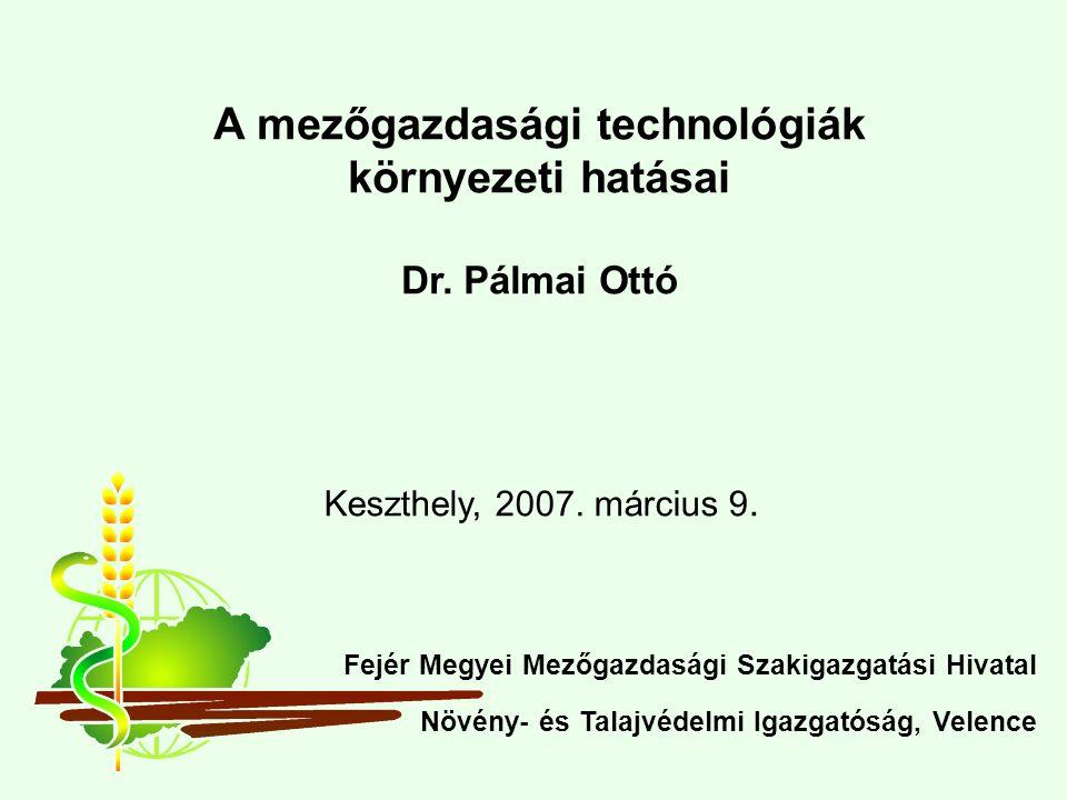 Keszthely, 2007. március 9. A mezőgazdasági technológiák környezeti hatásai Dr.