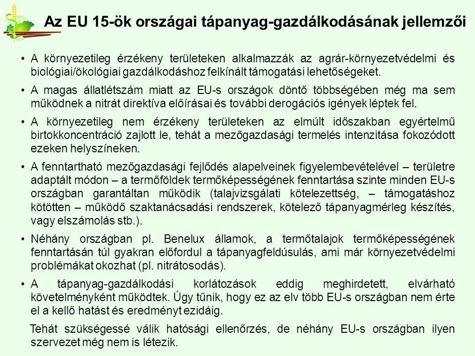 Az EU 15-ök országai tápanyag-gazdálkodásának jellemzői A környezetileg érzékeny területeken alkalmazzák az agrár-környezetvédelmi és biológiai/ökológiai gazdálkodáshoz felkínált támogatási lehetőségeket.