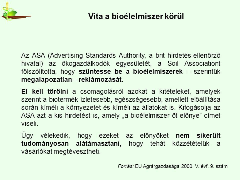 Az ASA (Advertising Standards Authority, a brit hirdetés-ellenőrző hivatal) az ökogazdálkodók egyesületét, a Soil Associationt fölszólította, hogy szüntesse be a bioélelmiszerek – szerintük megalapozatlan – reklámozását.