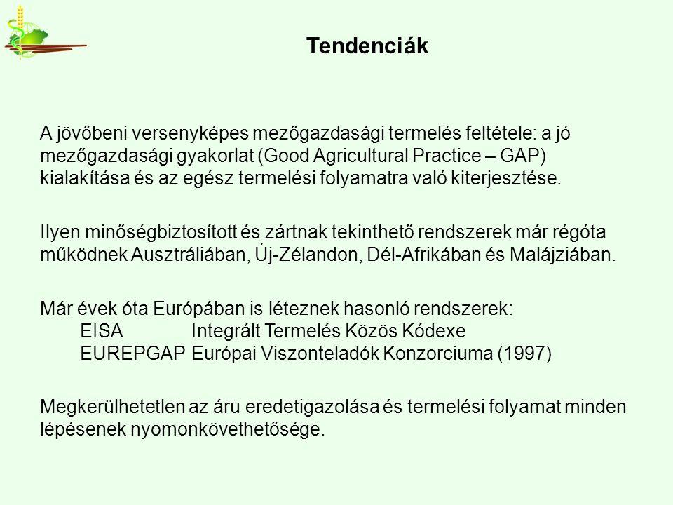 Tendenciák A jövőbeni versenyképes mezőgazdasági termelés feltétele: a jó mezőgazdasági gyakorlat (Good Agricultural Practice – GAP) kialakítása és az egész termelési folyamatra való kiterjesztése.