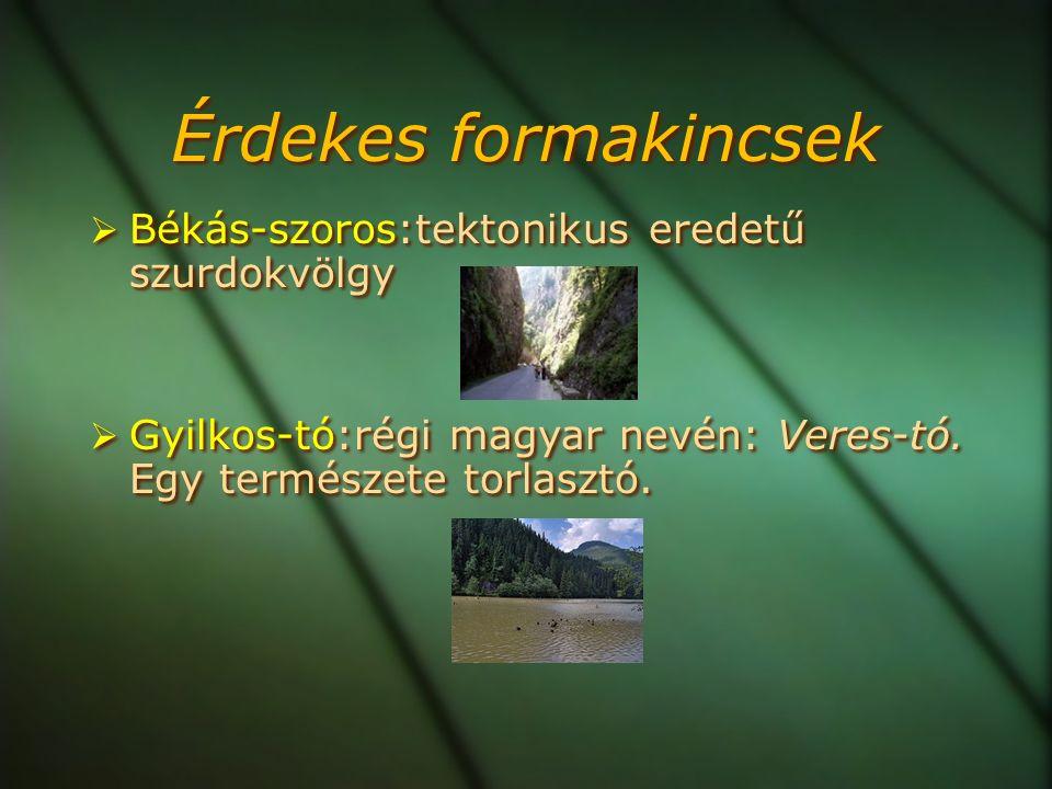 Érdekes formakincsek  Békás-szoros:tektonikus eredetű szurdokvölgy  Gyilkos-tó:régi magyar nevén: Veres-tó.