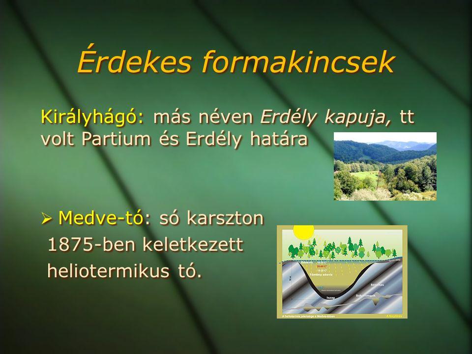 Érdekes formakincsek Királyhágó: más néven Erdély kapuja, tt volt Partium és Erdély határa  Medve-tó: só karszton 1875-ben keletkezett heliotermikus tó.