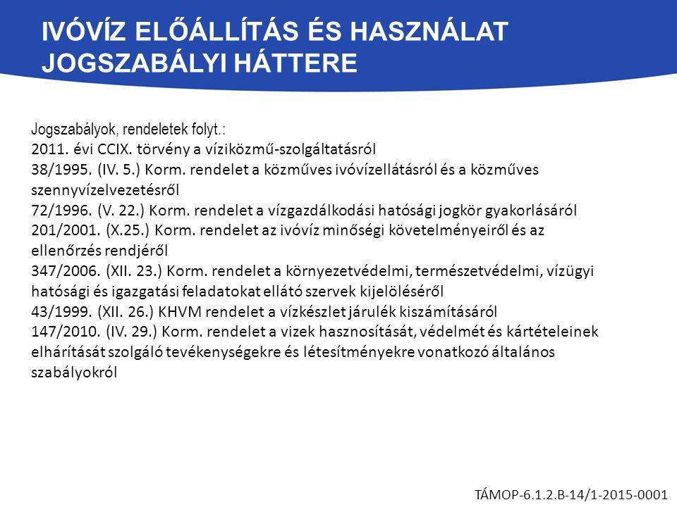 IVÓVÍZ ELŐÁLLÍTÁS ÉS HASZNÁLAT JOGSZABÁLYI HÁTTERE Jogszabályok, rendeletek folyt.: 2011. évi CCIX. törvény a víziközmű-szolgáltatásról 38/1995. (IV.