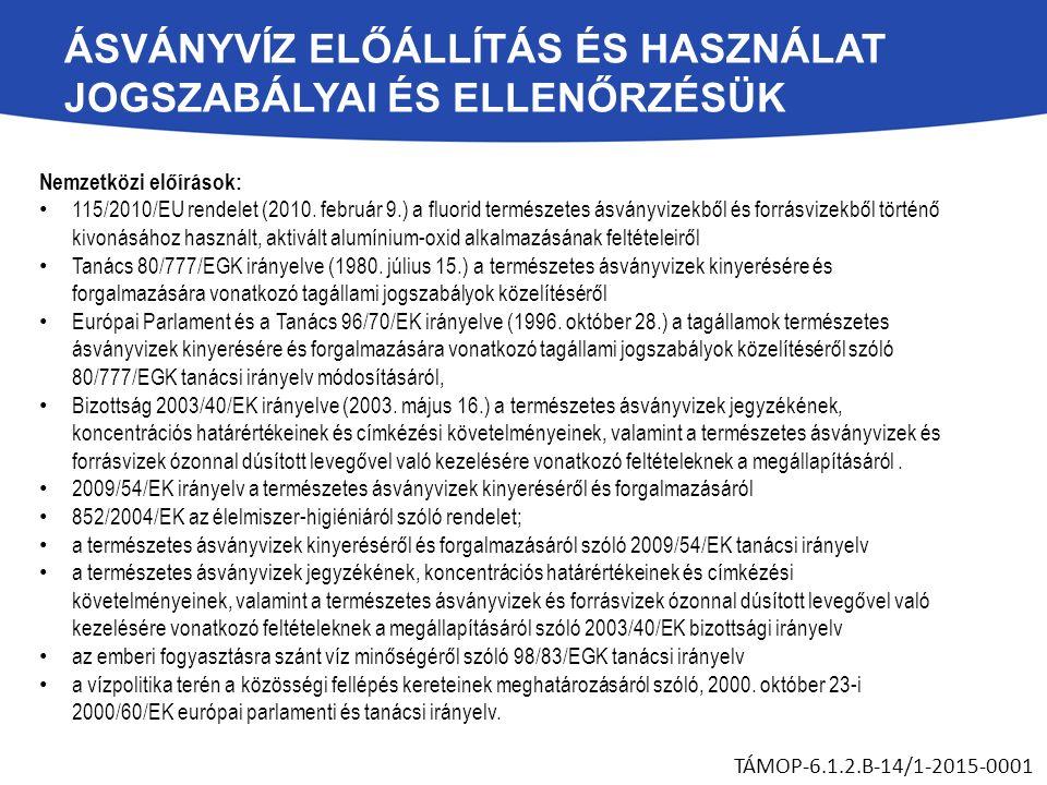 ÁSVÁNYVÍZ ELŐÁLLÍTÁS ÉS HASZNÁLAT JOGSZABÁLYAI ÉS ELLENŐRZÉSÜK Nemzetközi előírások: 115/2010/EU rendelet (2010. február 9.) a fluorid természetes ásv