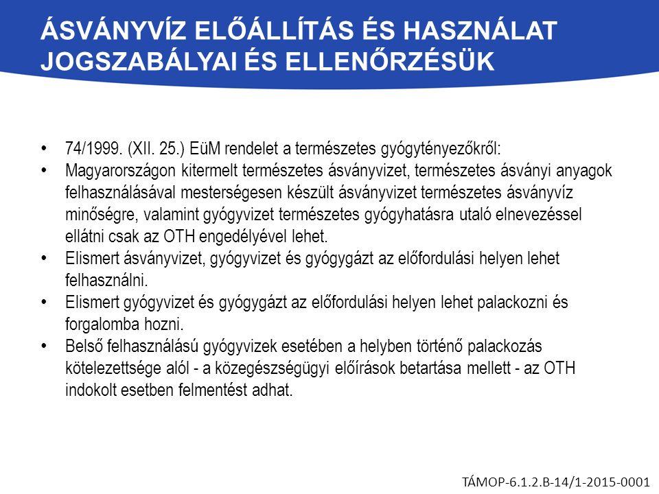 ÁSVÁNYVÍZ ELŐÁLLÍTÁS ÉS HASZNÁLAT JOGSZABÁLYAI ÉS ELLENŐRZÉSÜK 74/1999. (XII. 25.) EüM rendelet a természetes gyógytényezőkről: Magyarországon kiterme