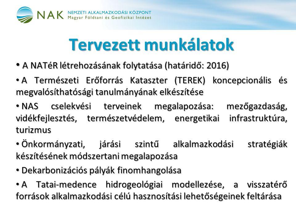 Tervezett munkálatok A NATéR létrehozásának folytatása (határidő: 2016) A NATéR létrehozásának folytatása (határidő: 2016) A Természeti Erőforrás Kataszter (TEREK) koncepcionális és megvalósíthatósági tanulmányának elkészítése A Természeti Erőforrás Kataszter (TEREK) koncepcionális és megvalósíthatósági tanulmányának elkészítése NAS cselekvési terveinek megalapozása: mezőgazdaság, vidékfejlesztés, természetvédelem, energetikai infrastruktúra, turizmus NAS cselekvési terveinek megalapozása: mezőgazdaság, vidékfejlesztés, természetvédelem, energetikai infrastruktúra, turizmus Önkormányzati, járási szintű alkalmazkodási stratégiák készítésének módszertani megalapozása Önkormányzati, járási szintű alkalmazkodási stratégiák készítésének módszertani megalapozása Dekarbonizációs pályák finomhangolása Dekarbonizációs pályák finomhangolása A Tatai-medence hidrogeológiai modellezése, a visszatérő források alkalmazkodási célú hasznosítási lehetőségeinek feltárása A Tatai-medence hidrogeológiai modellezése, a visszatérő források alkalmazkodási célú hasznosítási lehetőségeinek feltárása