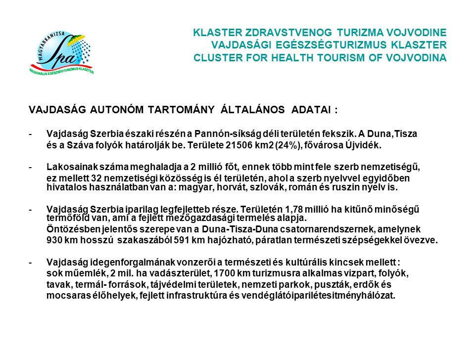 KLASTER ZDRAVSTVENOG TURIZMA VOJVODINE VAJDASÁGI EGÉSZSÉGTURIZMUS KLASZTER CLUSTER FOR HEALTH TOURISM OF VOJVODINA Klaszterünk első szerény eredményei: A sikeres hazai és EU-s projektumok mellett a Klaszter tagok aktiv hozzájárulása : A Tisza-mente gazdaságának koherens fejlesztési Terve, A Tiszavidék Turizmusfejlesztési Akcióterve A Vajdasági egészségturizmus fejl.stratégia kidolgozásához (Tartományi VT) Klaszterünk kiterjesztése Vajdaság szintre Az Euroregionális Megállapodás aláirása Románia-Magyarország-Vajdaság-Szerbia