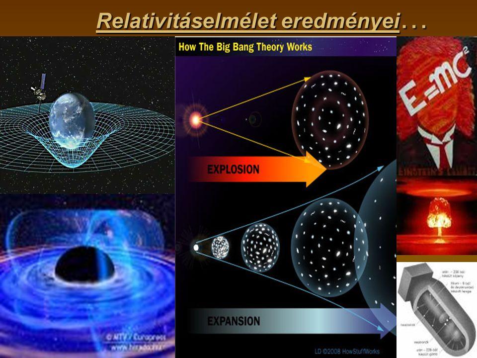 g Relativitáselmélet eredményei …