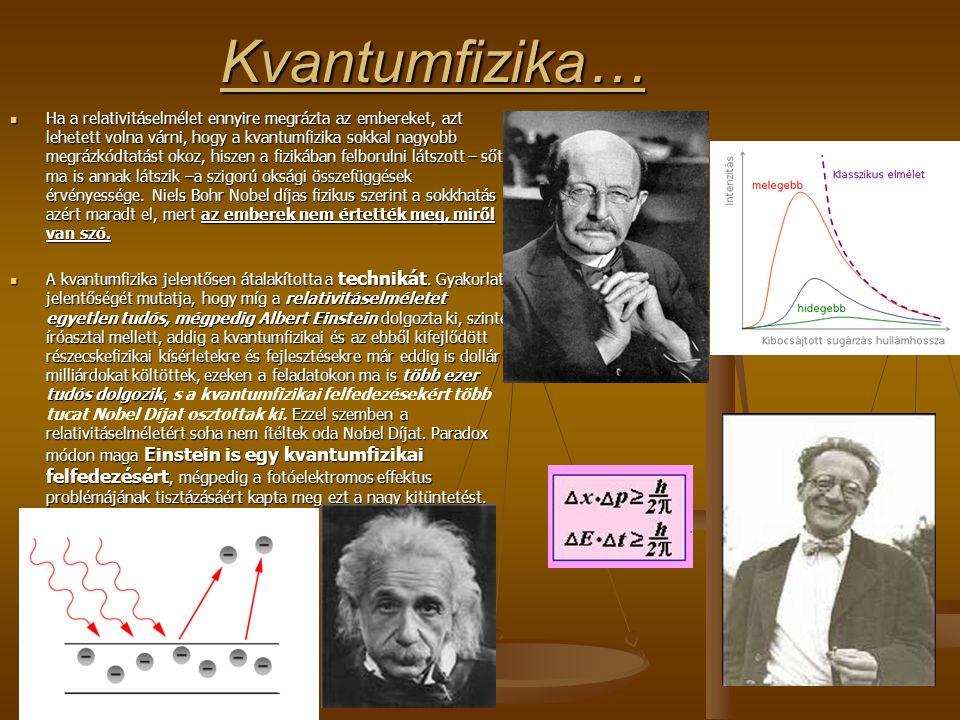 Kvantumfizika… Ha a relativitáselmélet ennyire megrázta az embereket, azt lehetett volna várni, hogy a kvantumfizika sokkal nagyobb megrázkódtatást okoz, hiszen a fizikában felborulni látszott – sőt ma is annak látszik –a szigorú oksági összefüggések érvényessége.