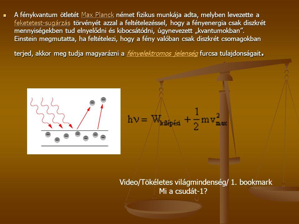 """A fénykvantum ötletét Max Planck német fizikus munkája adta, melyben levezette a feketetest-sugárzás törvényét azzal a feltételezéssel, hogy a fényenergia csak diszkrét mennyiségekben tud elnyelődni és kibocsátódni, úgynevezett """"kvantumokban ."""