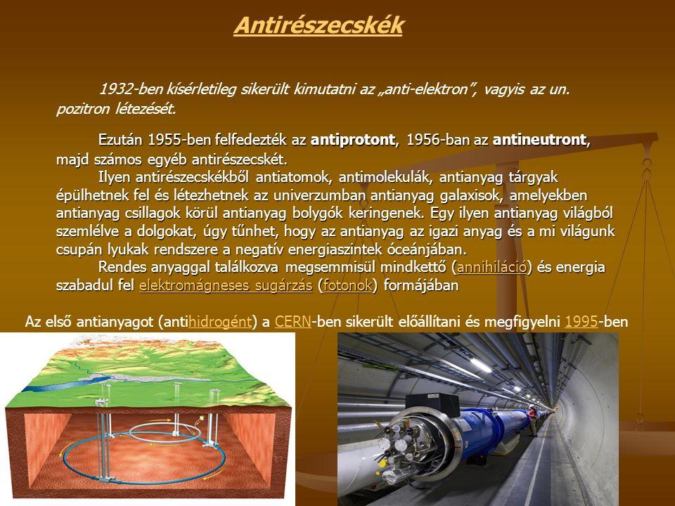 """Antirészecskék 1932-ben kísérletileg sikerült kimutatni az """"anti-elektron , vagyis az un."""