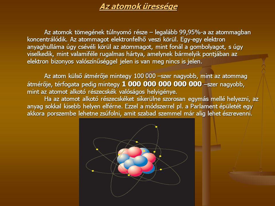 Az atomok üressége Az atomok tömegének túlnyomó része – legalább 99,95%-a az atommagban koncentrálódik.