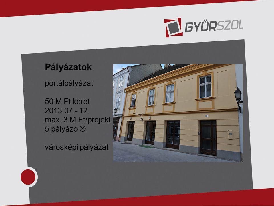 Pályázatok portálpályázat 50 M Ft keret 2013.07.- 12.