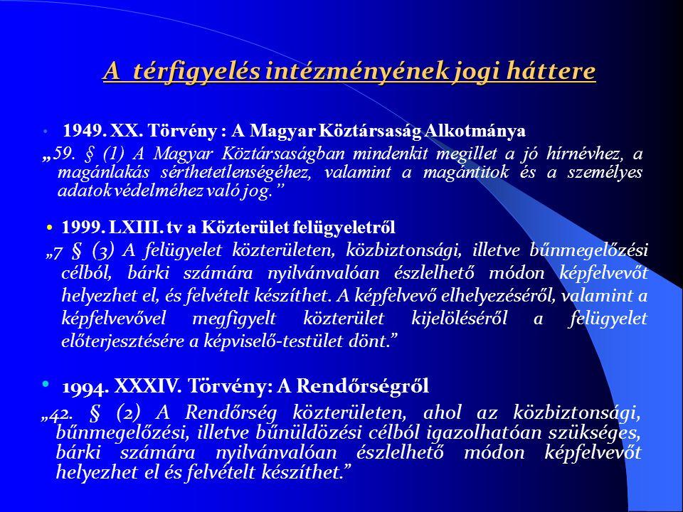 """A térfigyelés intézményének jogi háttere 1949. XX. Törvény : A Magyar Köztársaság Alkotmánya """"59. § (1) A Magyar Köztársaságban mindenkit megillet a j"""