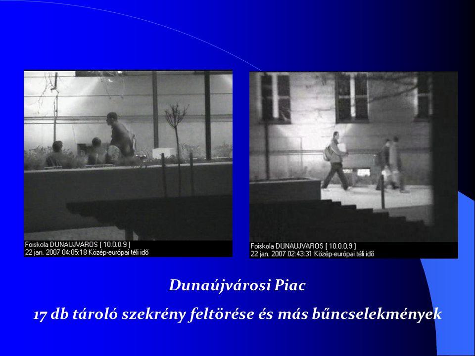 Dunaújvárosi Piac 17 db tároló szekrény feltörése és más bűncselekmények