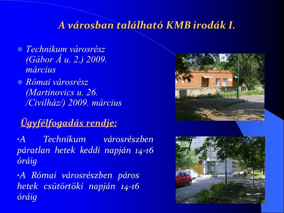 A városban található KMB irodák I. Technikum városrész (Gábor Á u. 2.) 2009. március Római városrész (Martinovics u. 26. /Civilház/) 2009. március A R