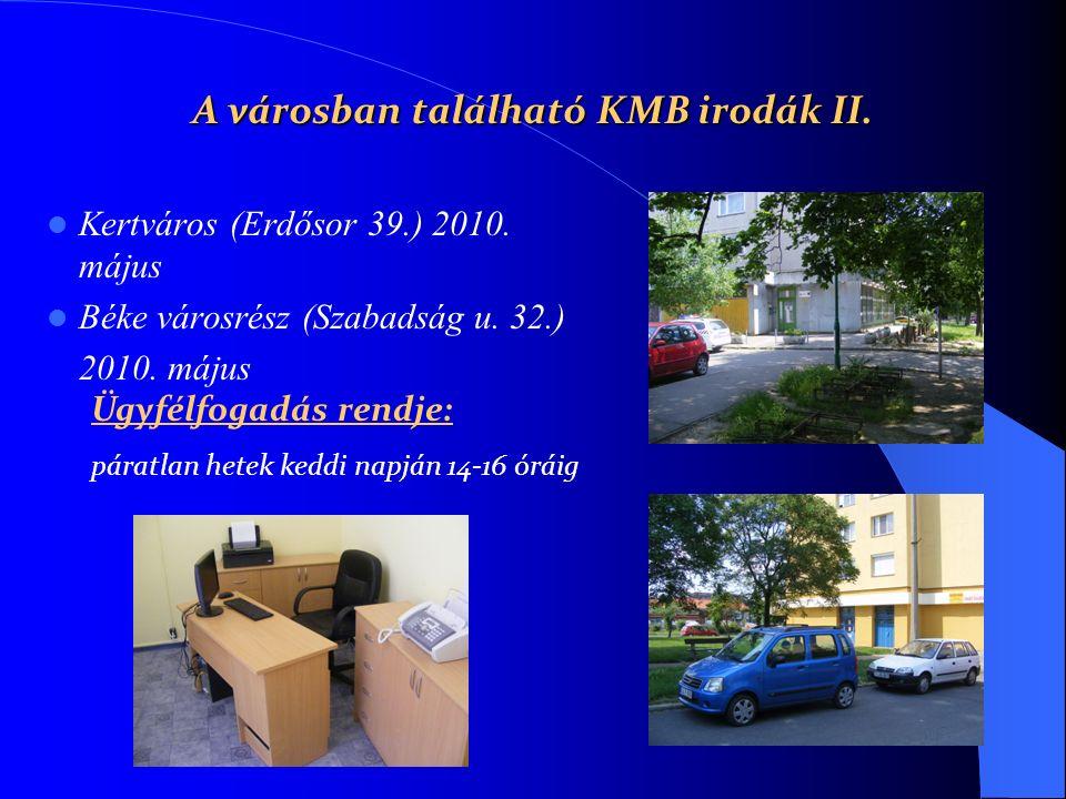 Kertváros (Erdősor 39.) 2010. május Béke városrész (Szabadság u. 32.) 2010. május A városban található KMB irodák II. Ügyfélfogadás rendje: páratlan h