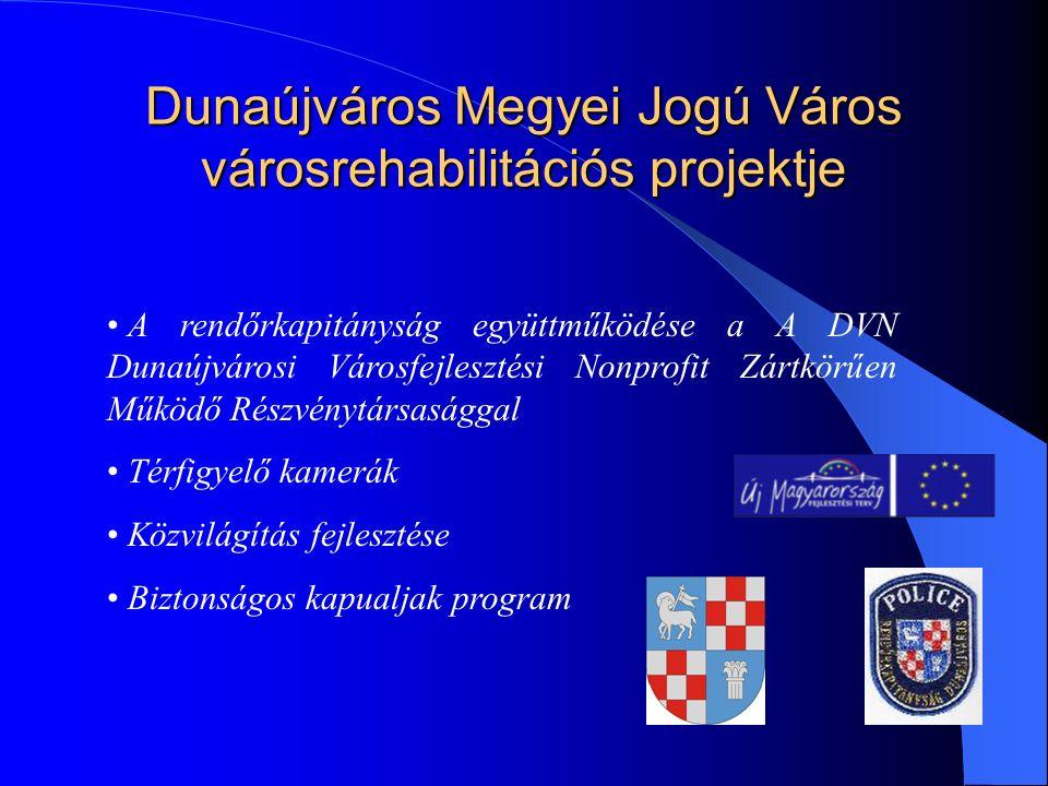 Dunaújváros Megyei Jogú Város városrehabilitációs projektje A rendőrkapitányság együttműködése a A DVN Dunaújvárosi Városfejlesztési Nonprofit Zártkörűen Működő Részvénytársasággal Térfigyelő kamerák Közvilágítás fejlesztése Biztonságos kapualjak program