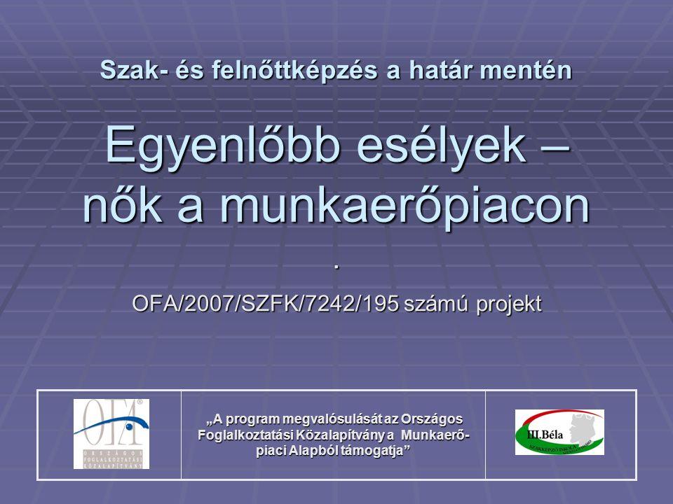 """Egyenlőbb esélyek – nők a munkaerőpiacon. OFA/2007/SZFK/7242/195 számú projekt Szak- és felnőttképzés a határ mentén """"A program megvalósulását az Orsz"""