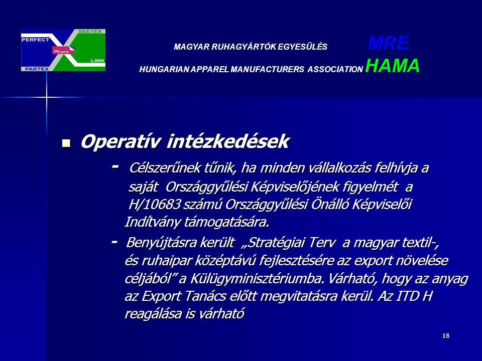 18 Operatív intézkedések Operatív intézkedések - Célszerűnek tűnik, ha minden vállalkozás felhívja a saját Országgyűlési Képviselőjének figyelmét a saját Országgyűlési Képviselőjének figyelmét a H/10683 számú Országgyűlési Önálló Képviselői H/10683 számú Országgyűlési Önálló Képviselői Indítvány támogatására.