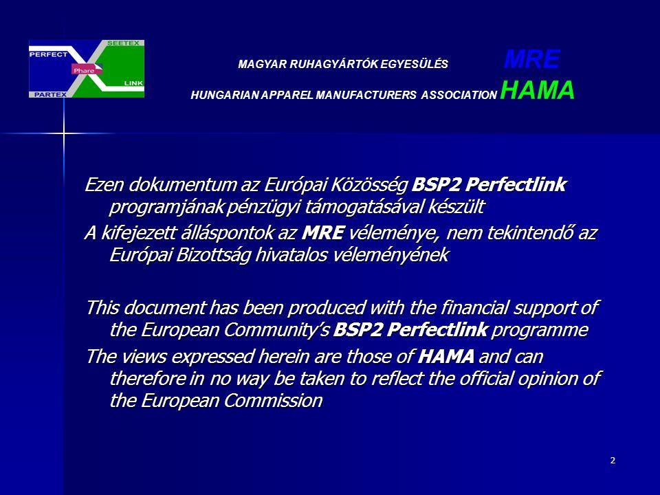 3 Témakörök: - A szektor gazdasági elemzésének összefoglalása összefoglalása - Kulcsfontosságú kihívások - Versenyképességi kérdések - Operatív intézkedések - Összegezés MAGYAR RUHAGYÁRTÓK EGYESÜLÉS MRE HUNGARIAN APPAREL MANUFACTURERS ASSOCIATION HAMA