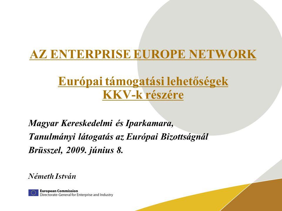 AZ ENTERPRISE EUROPE NETWORK Európai támogatási lehetőségek KKV-k részére Magyar Kereskedelmi és Iparkamara, Tanulmányi látogatás az Európai Bizottságnál Brüsszel, 2009.