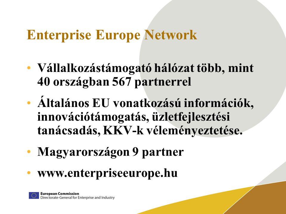 Enterprise Europe Network Vállalkozástámogató hálózat több, mint 40 országban 567 partnerrel Általános EU vonatkozású információk, innovációtámogatás, üzletfejlesztési tanácsadás, KKV-k véleményeztetése.