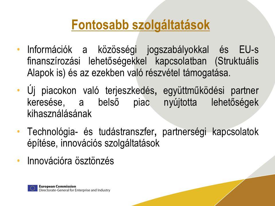 Fontosabb szolgáltatások Információk a közösségi jogszabályokkal és EU-s finanszírozási lehetőségekkel kapcsolatban (Struktuális Alapok is) és az ezekben való részvétel támogatása.