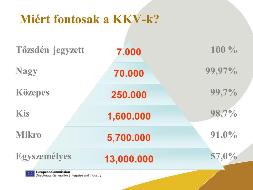 7.000 70.000 250.000 1,600.000 5,700.000 13,000.000 Miért fontosak a KKV-k.