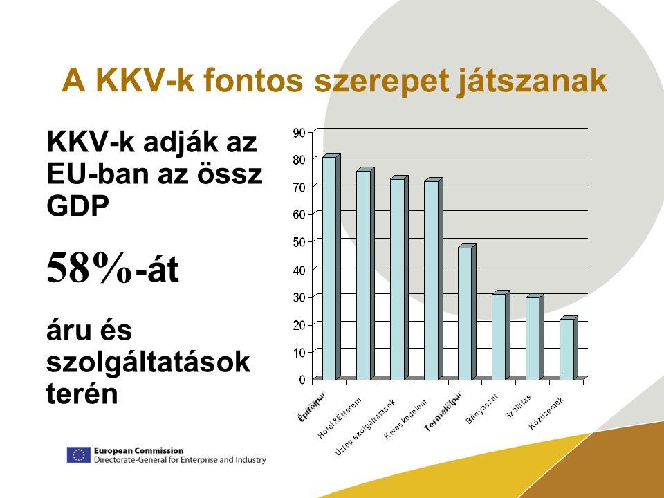 A KKV-k fontos szerepet játszanak KKV-k adják az EU-ban az össz GDP 58% -át áru és szolgáltatások terén