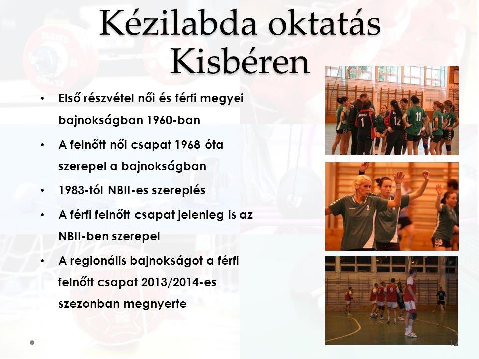 Első részvétel női és férfi megyei bajnokságban 1960-ban A felnőtt női csapat 1968 óta szerepel a bajnokságban 1983-tól NBII-es szereplés A férfi felnőtt csapat jelenleg is az NBII-ben szerepel A regionális bajnokságot a férfi felnőtt csapat 2013/2014-es szezonban megnyerte Kézilabda oktatás Kisbéren 12