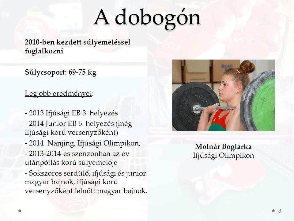 18 A dobogón Molnár Boglárka Ifjúsági Olimpikon 2010-ben kezdett súlyemeléssel foglalkozni Súlycsoport: 69-75 kg Legjobb eredményei: - 2013 Ifjúsági EB 3.
