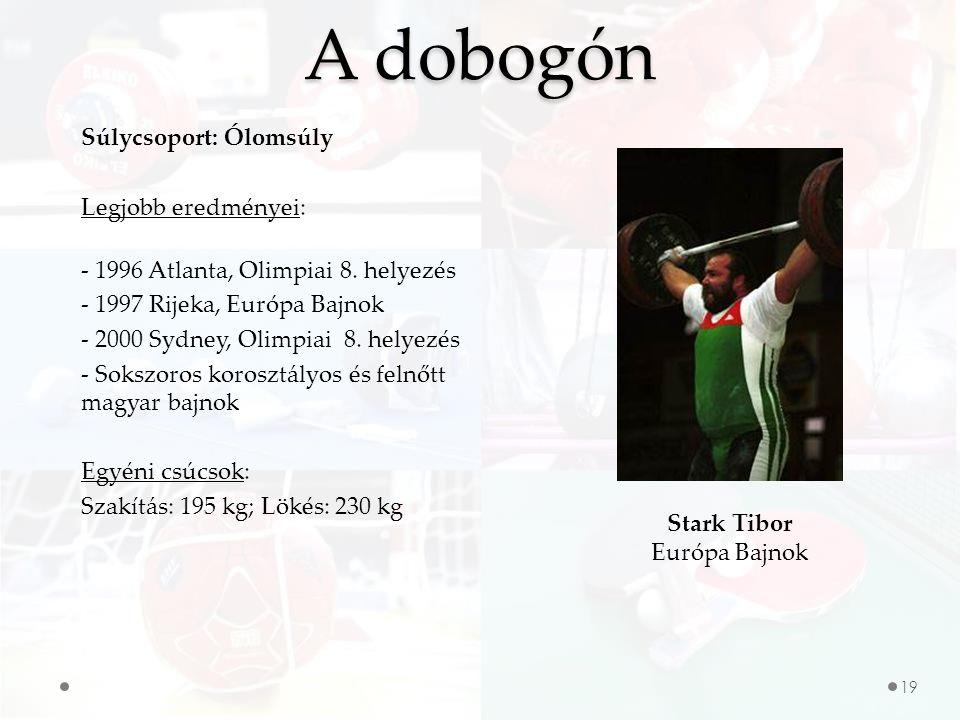 19 A dobogón Stark Tibor Európa Bajnok Súlycsoport: Ólomsúly Legjobb eredményei: - 1996 Atlanta, Olimpiai 8.