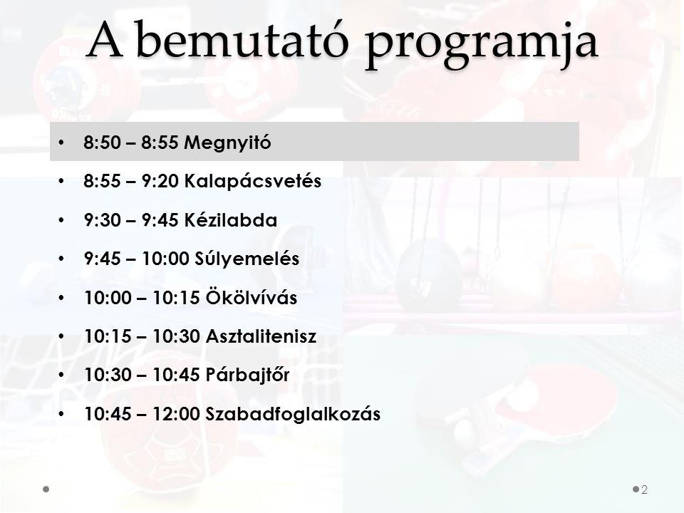 A bemutató programja 8:50 – 8:55 Megnyitó 8:55 – 9:20 Kalapácsvetés 9:30 – 9:45 Kézilabda 9:45 – 10:00 Súlyemelés 10:00 – 10:15 Ökölvívás 10:15 – 10:30 Asztalitenisz 10:30 – 10:45 Párbajtőr 10:45 – 12:00 Szabadfoglalkozás 2