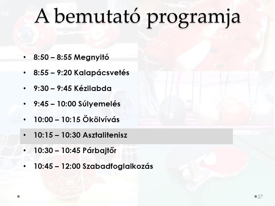 A bemutató programja 8:50 – 8:55 Megnyitó 8:55 – 9:20 Kalapácsvetés 9:30 – 9:45 Kézilabda 9:45 – 10:00 Súlyemelés 10:00 – 10:15 Ökölvívás 10:15 – 10:30 Asztalitenisz 10:30 – 10:45 Párbajtőr 10:45 – 12:00 Szabadfoglalkozás 27