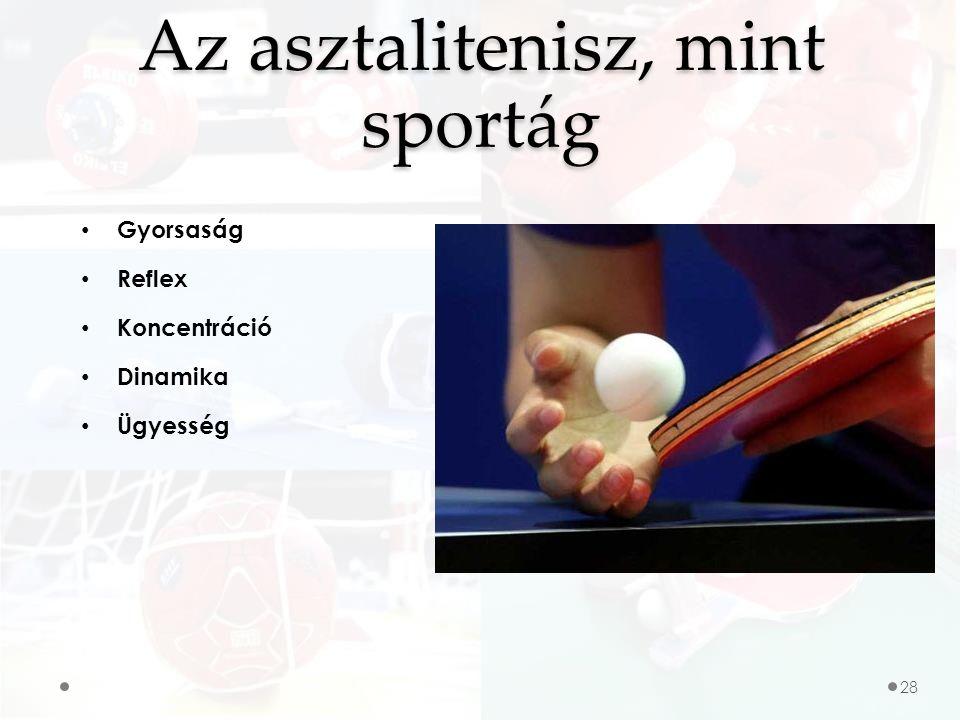 Gyorsaság Reflex Koncentráció Dinamika Ügyesség Az asztalitenisz, mint sportág 28