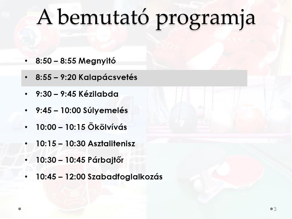 A bemutató programja 8:50 – 8:55 Megnyitó 8:55 – 9:20 Kalapácsvetés 9:30 – 9:45 Kézilabda 9:45 – 10:00 Súlyemelés 10:00 – 10:15 Ökölvívás 10:15 – 10:30 Asztalitenisz 10:30 – 10:45 Párbajtőr 10:45 – 12:00 Szabadfoglalkozás 14