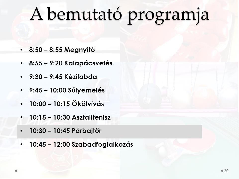 A bemutató programja 8:50 – 8:55 Megnyitó 8:55 – 9:20 Kalapácsvetés 9:30 – 9:45 Kézilabda 9:45 – 10:00 Súlyemelés 10:00 – 10:15 Ökölvívás 10:15 – 10:30 Asztalitenisz 10:30 – 10:45 Párbajtőr 10:45 – 12:00 Szabadfoglalkozás 30