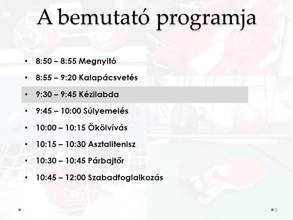 A bemutató programja 8:50 – 8:55 Megnyitó 8:55 – 9:20 Kalapácsvetés 9:30 – 9:45 Kézilabda 9:45 – 10:00 Súlyemelés 10:00 – 10:15 Ökölvívás 10:15 – 10:30 Asztalitenisz 10:30 – 10:45 Párbajtőr 10:45 – 12:00 Szabadfoglalkozás 8