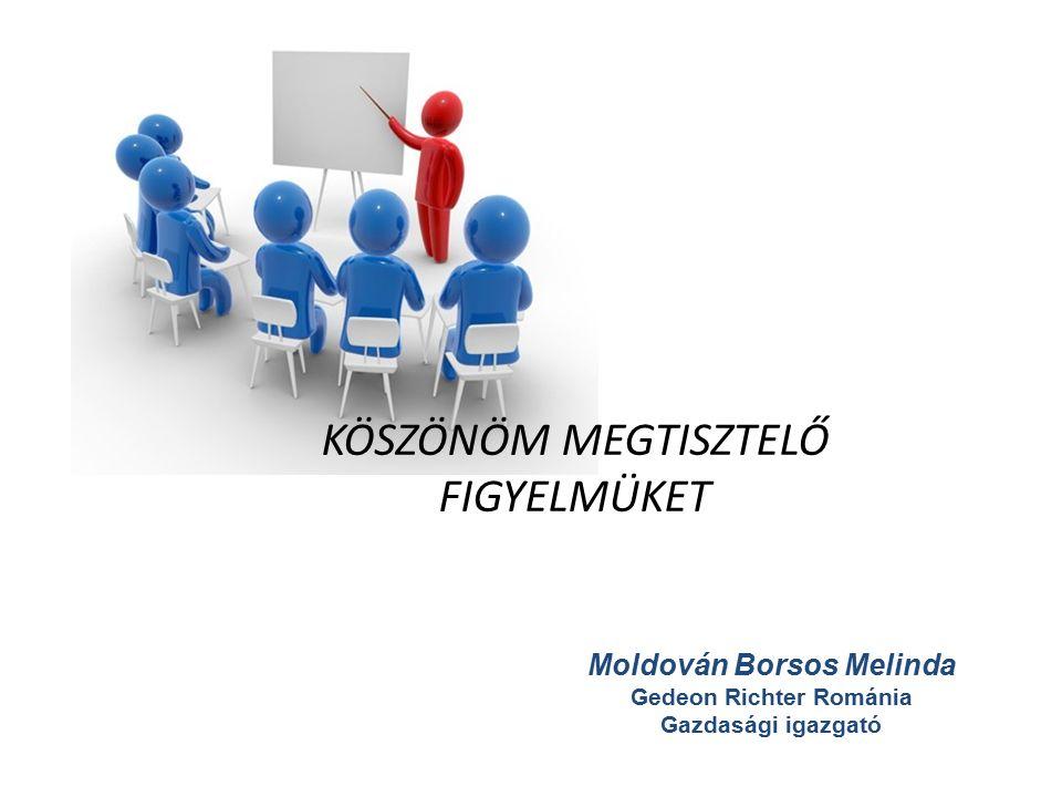 KÖSZÖNÖM MEGTISZTELŐ FIGYELMÜKET Moldován Borsos Melinda Gedeon Richter Románia Gazdasági igazgató